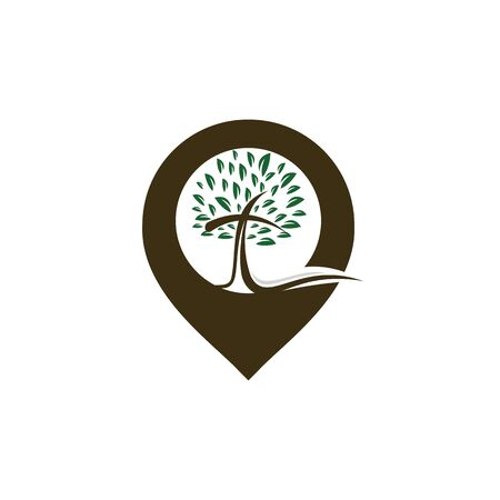 Church and map pointer logo design. Church and gps locator symbol or icon.