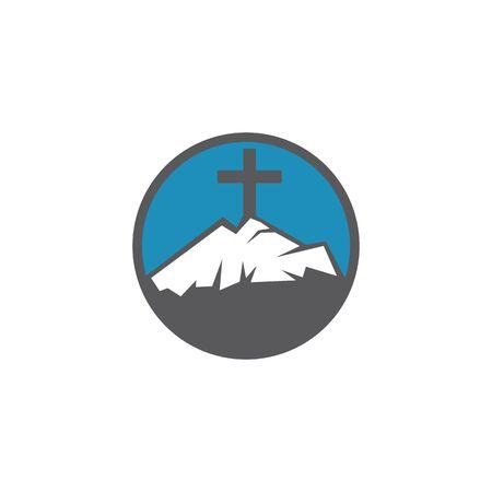 Baptist cross in mountain logo design. Cross on top of the mountain.