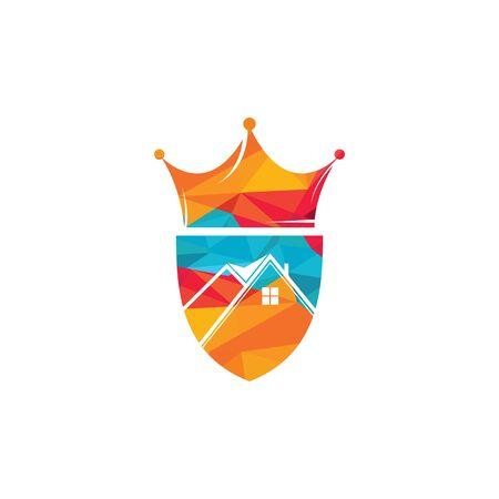 Home king vector logo design. Creative home and crown vector logo design concept. Illustration