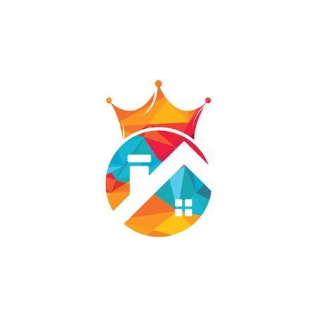 Home king vector logo design. Creative home and crown vector logo design concept. Banque d'images - 148653097