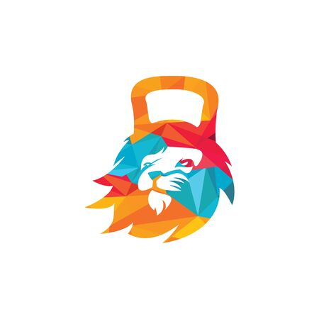 Gym lion template design. Fitness gym badge illustration. Ilustração