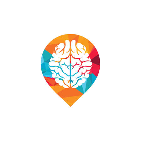 Think location . Brain with location pin design.