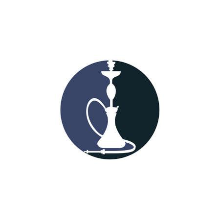 Hookah design. Vintage sheesha . Lounge cafe emblem. Arabian bar or house, shop vector design template.  イラスト・ベクター素材