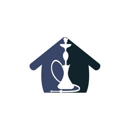 Hookah House design. Vintage sheesha . Lounge cafe emblem. Arabian bar or house, shop vector design template.