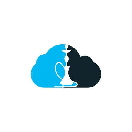 Hookah and cloud design. Vintage sheesha . Lounge cafe emblem. Arabian bar or house, shop vector design template.  イラスト・ベクター素材