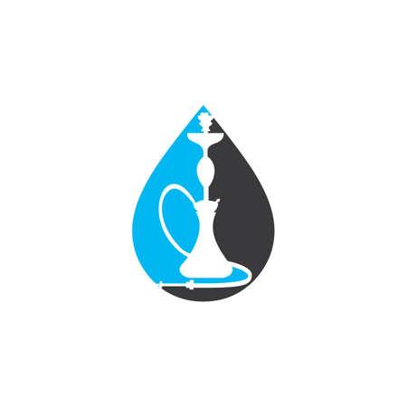 Water drop and Hookah design. Vintage sheesha . Lounge cafe emblem. Arabian bar or house, shop vector design template. Ilustração
