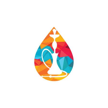 Water drop and Hookah design. Vintage sheesha . Lounge cafe emblem. Arabian bar or house, shop vector design template.  イラスト・ベクター素材