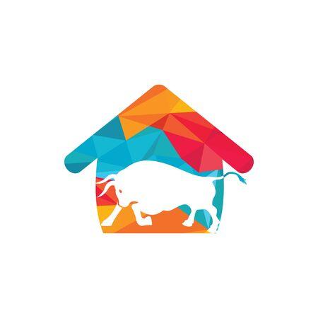 Bull house vector logo design.