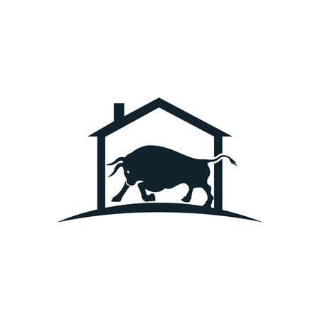 Bull house vector logo design.