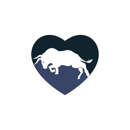 Bull heart shape vector logo design.