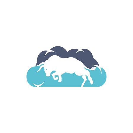 Bull cloud shape vector logo design. Vettoriali