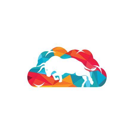 Bull cloud shape vector logo design. Illustration