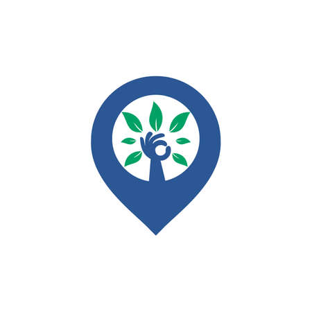 Hand tree and GPS pin logo design. Spa and Salon or Health Center Locator. Vectores