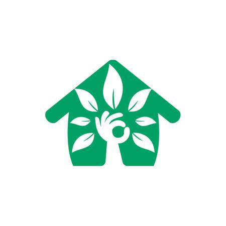 Creative green hand tree and house logo design. Natural home care logo. Spa logo. Beauty salon or yoga logo.