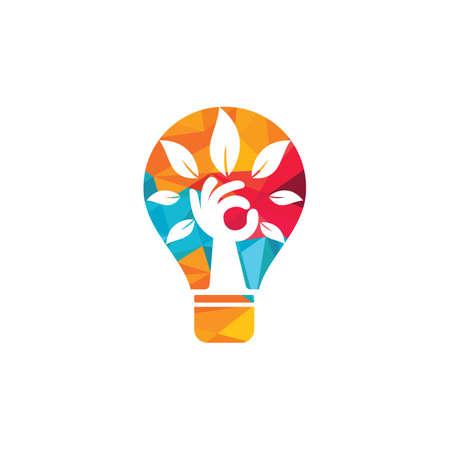 Creative green hand tree and bulb logo design. Natural products logo. Cosmetics icon. Spa logo. Beauty salon or yoga logo.
