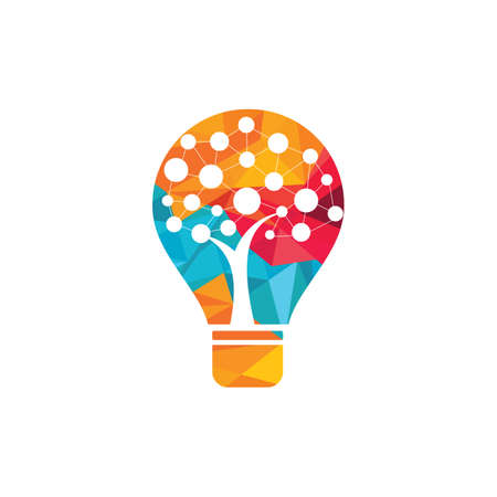 Tech tree bulb idea logo icon symbol inspiration template. Technology, nature, wireless, internet, network vector logo template. Vectores