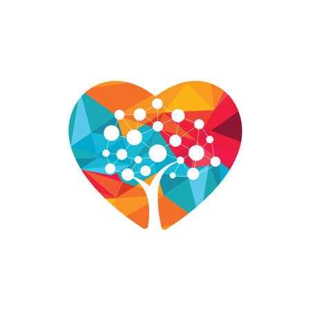 Tech Tree heart shape concept Logo Template Design. Technology, nature, wireless, internet, network vector logo template. Illusztráció