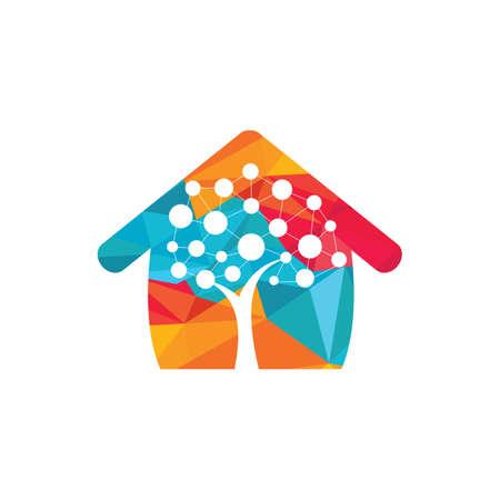 Tech Tree home shape concept Logo Template Design. Technology, nature, wireless, internet, network vector logo template. Illusztráció