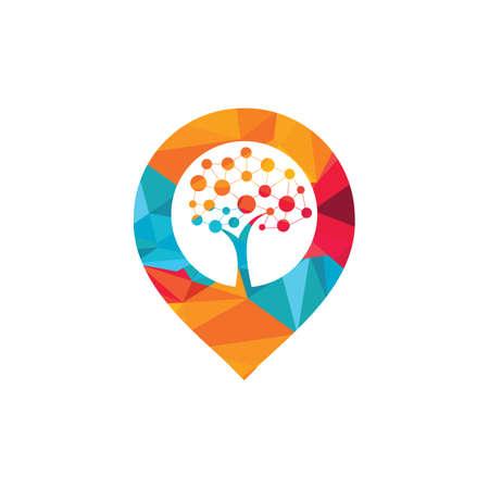 Tech Tree map pin shape concept Logo Template Design. Technology, nature, wireless, internet, network vector logo template.