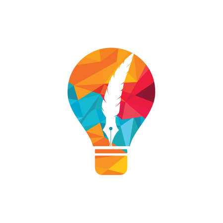 Feather bulb logo design. Educational and institutional logo design template. Illusztráció