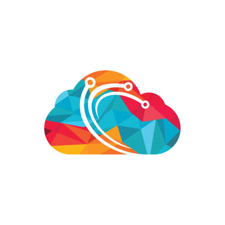 Digital cloud vector logo design. Blue cloud vector logo network connection creative vector logo. 向量圖像