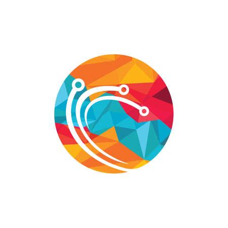 Abstract technology vector logo design. 向量圖像