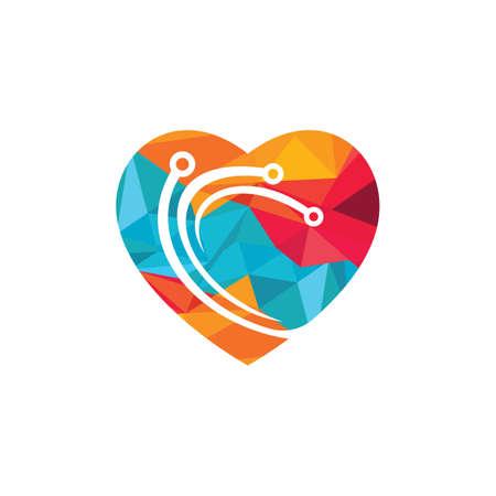 Technology love vector logo design. Abstract heart tech logo with circuit vector design. 向量圖像