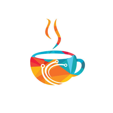 Coffee tech vector logo design. Digital coffee icon vector template.
