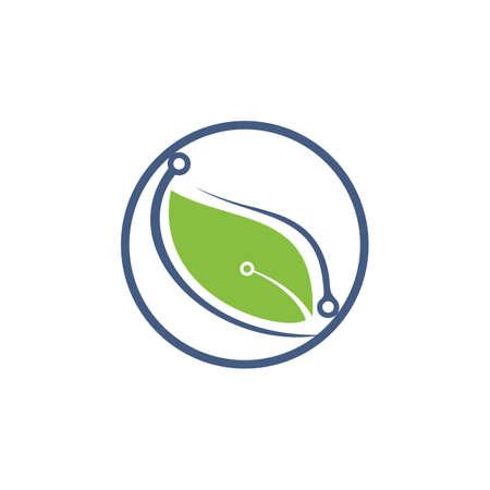 Digital leaves vector logo design. Fast Leaf technology logo concept.