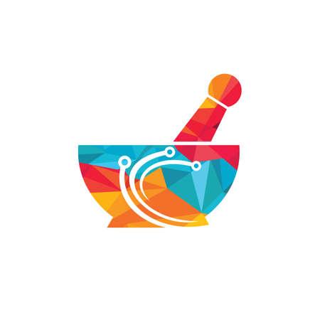 Digital pharmacy vector logo design. Digital medic logo concept. 向量圖像