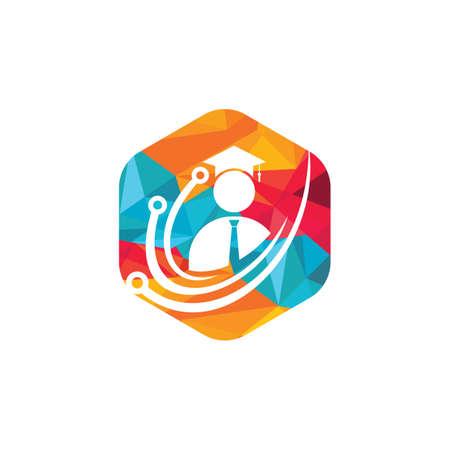 Education tech vector logo design. Digital school logo concept. 向量圖像