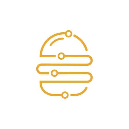 Burger tech vector logo design. 向量圖像