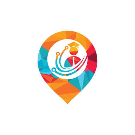 Education tech vector logo design. Digital school logo concept.
