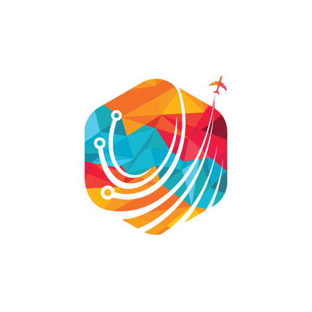 Travel tech vector logo design. Digital travel logo concept.