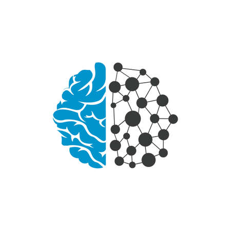 Brain technology logo design template. Circuit brain logo concept.