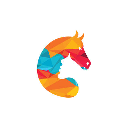 Women in horse vector logo design. Horse care or horse training logo concept.