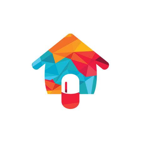 Home capsule logo design template. Medicine home delivery service logo concept.