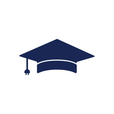 Artificial intelligent technology with graduation cap logo design. IT Expert Logo Sign Symbol Icon.