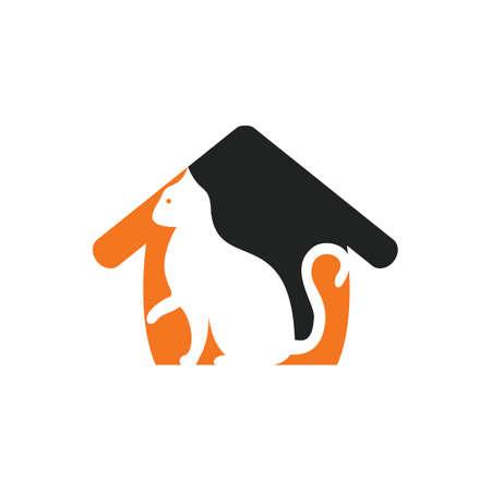 Cat house vector logo design.