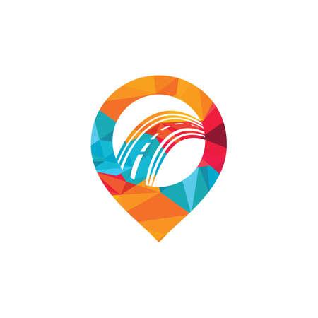 Pin Road Location logo design. Transport app logo design concept. Ilustracja