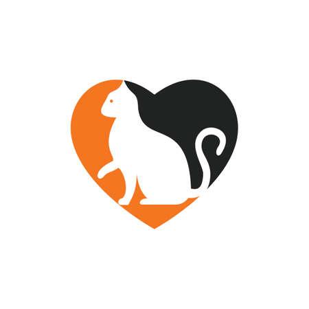 Cat heart shape vector logo design. Pet shop logo design. Animal Pet Care Logo.