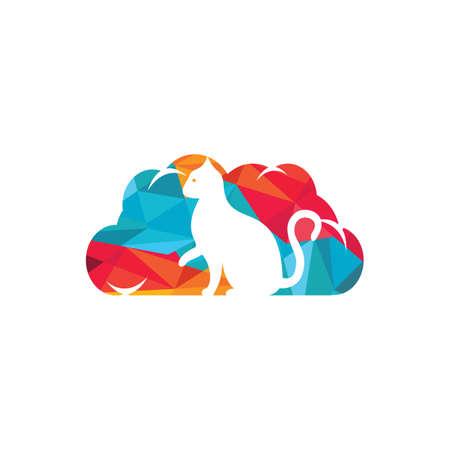 Cloud cat vector logo design.
