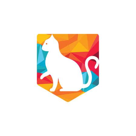 Cat vector logo design. Pet shop logo design. Animal Pet Care Logo.