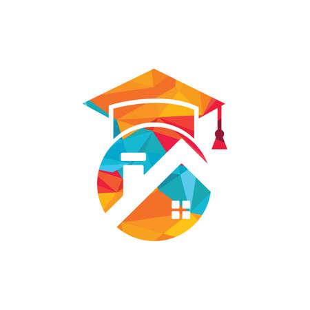 House school education logo design. Student housing logo template.