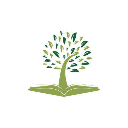 Tree With Book Education Logo Template.
