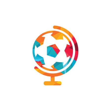 Soccer globe vector logo design template. Soccer planet logo template illustration.