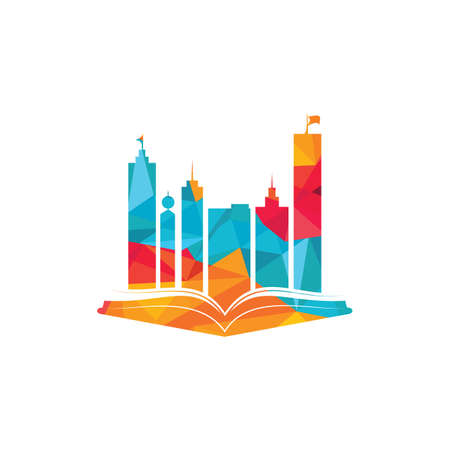 Education building logo design. Vector of book and a building, symbol of library and study. Illustration