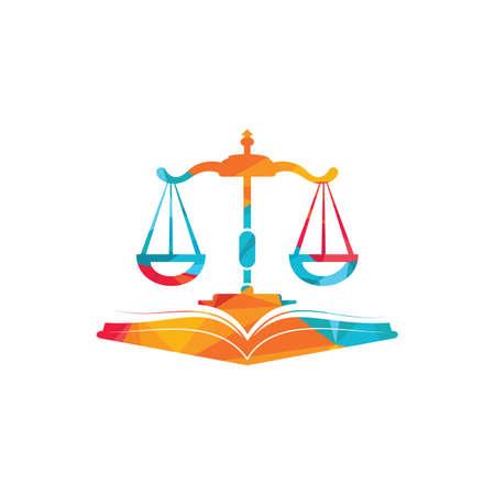 Law education logo design. Vector Libra and open book logo combination.