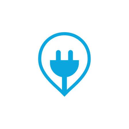 Electrical plug pin vector logo design. Power energy symbol. Ilustracja