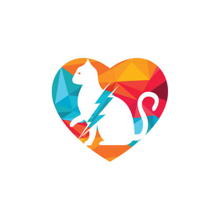 Flash cat design. Cat and thunderstorm with heart icon.